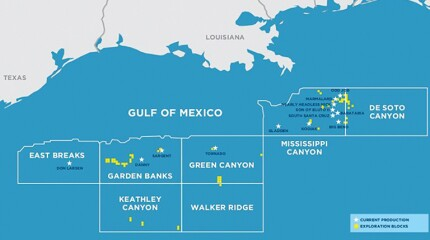 Map of Kosmos Green Canyon oil fields