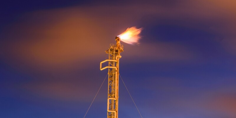 Gas flaring. Combustion of associated gas at oil production.