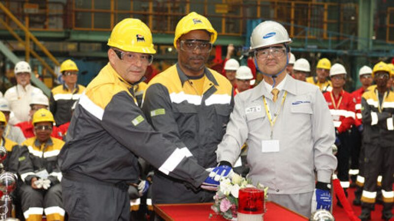 Ceremony for initial development on hull of Coral South FLNG vessel