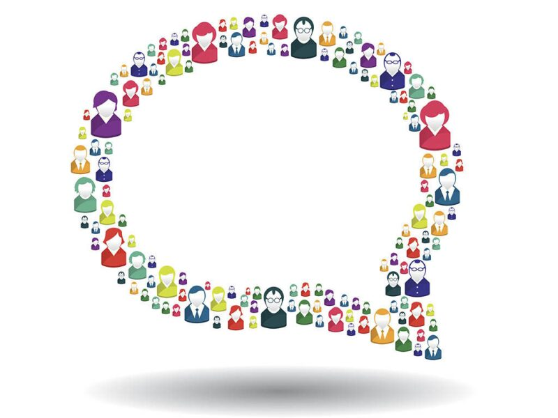 conversation bubble made up of people