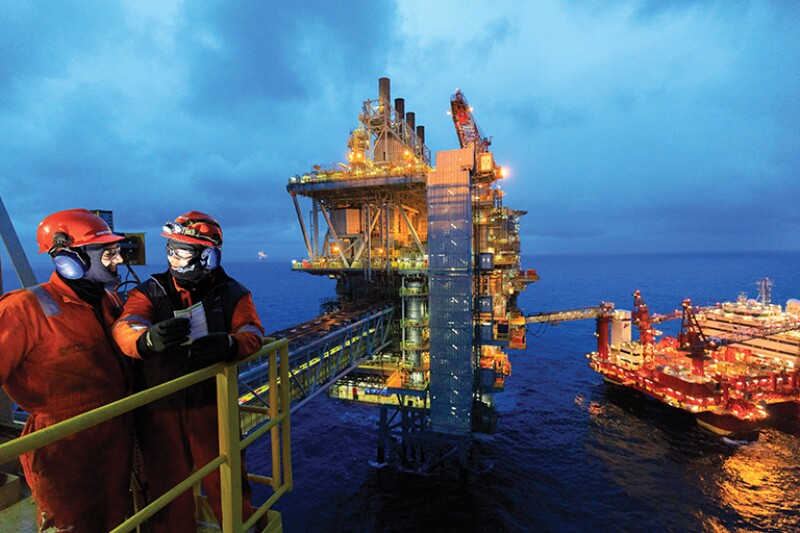 Two men on offshore platform