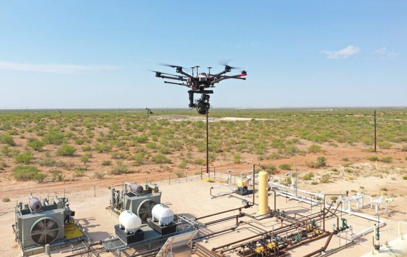 A drone checking operations at a production site