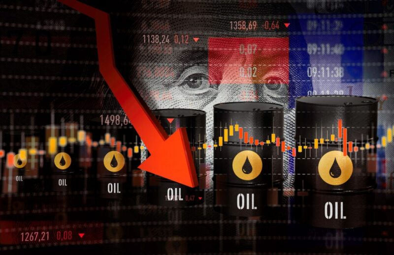 Graphic that combines currency, stock price ticker, trading ranges, oil barrels and a strong red downward trending arrow
