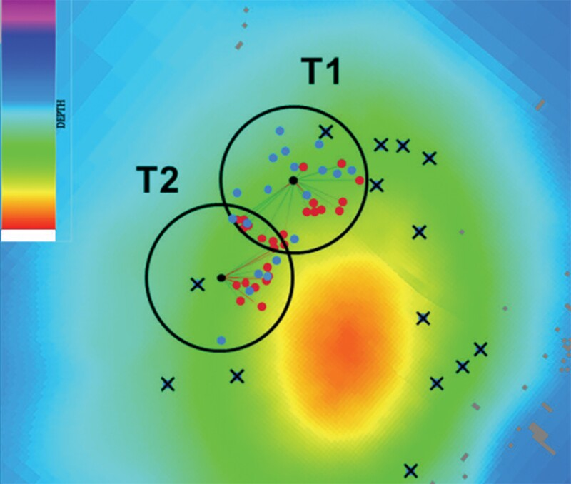 Map view with schematic drain location of WISH (red dots) and reference (blue dots) solutions