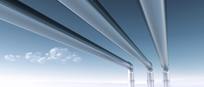 Three Pipelines in front of a clear blue sky