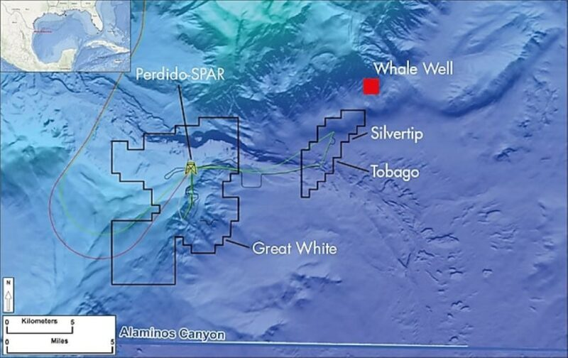 Map of Gulf of Mexico showing several projects with location of the Whale well (red square)