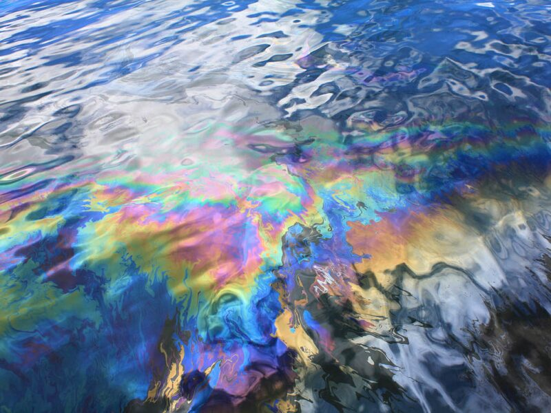 Oil stain on water