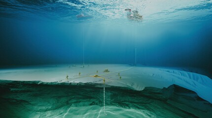 Offshore oil facility underwater view