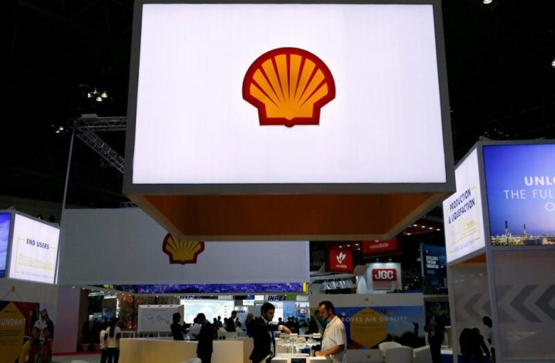 Shell logo on a screen at a trade show