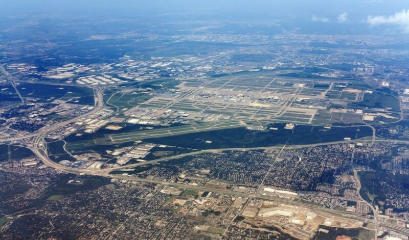 DFW Airport and surrounding area seen from the air