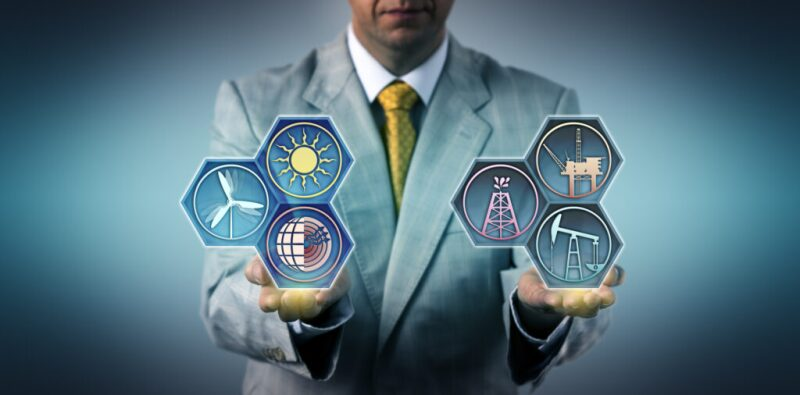 Graphic of man balancing symbols for oil and gas in one hand and renewable energy in the other