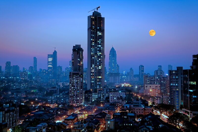 Moonrise over south central Mumbai. The rising economies of India and other emerging Asian economies will drive future carbon emissions. Source Getty.