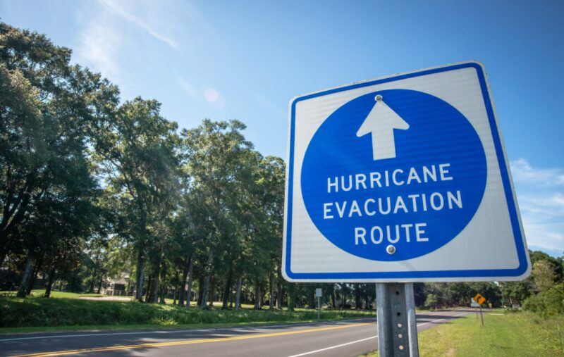 Sign marking a hurricane evacuation route