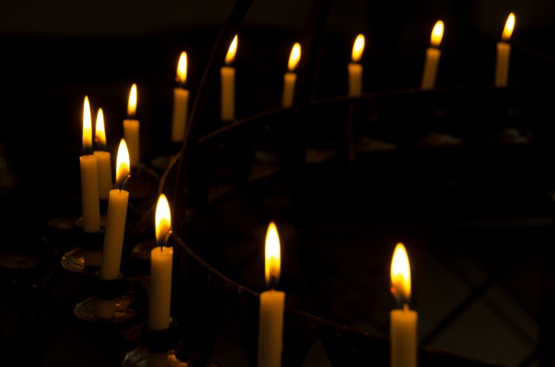 Curved row of candles