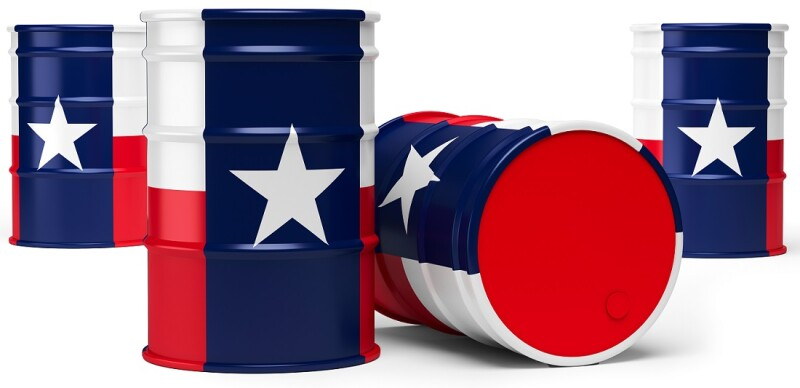 Texas oil barrels isolated on white background