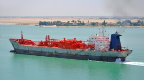 Tanker passing through Suez Canal