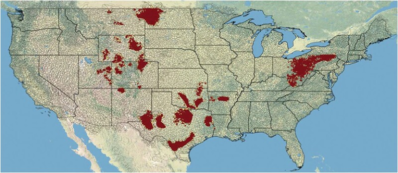 US watersheds with hydraulically fractured well exposure.