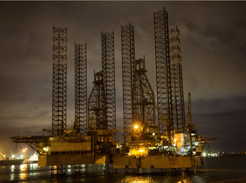 Lagos Offshore oil rig at night