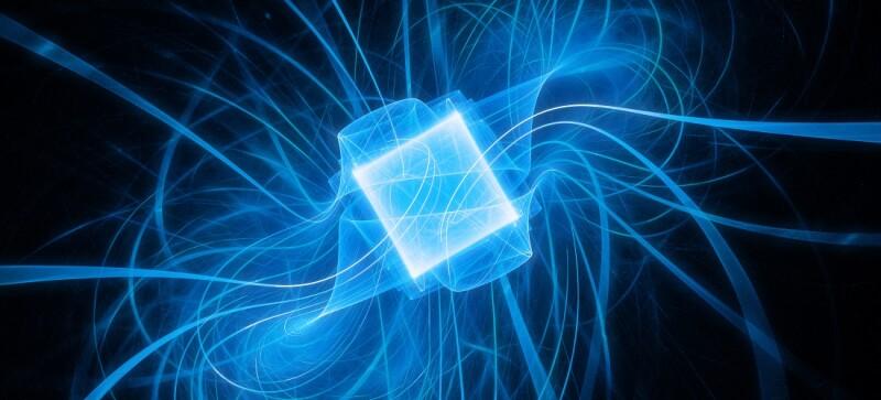 Blue glowing futuristic quantum processor