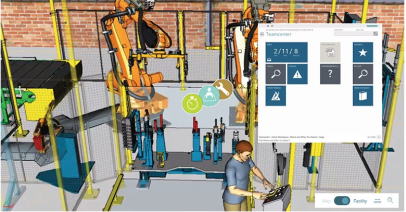 Illustration of virtual workspace in the Digital Twin