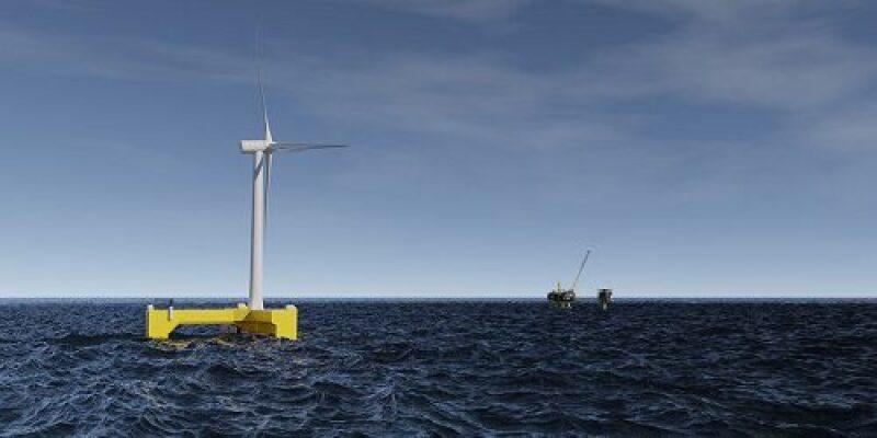 Illustration of floating wind turbine