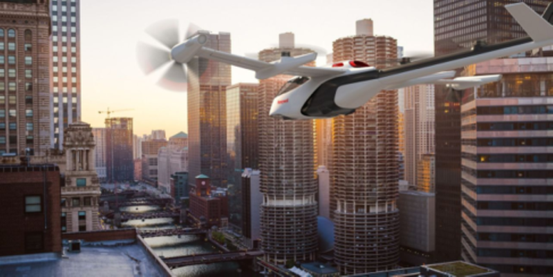Drone flying in an urban area