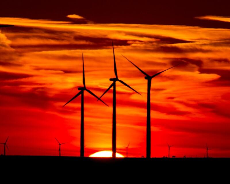 Sunset at BP's Cedar Creek 2 wind farm.