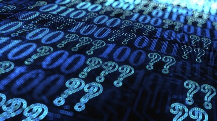 question marks and binary code