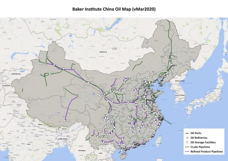 Map of China with oil and gas facilities and pipelines