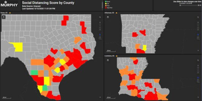 Social distancing scores by county