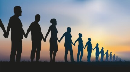 Concept of solidarity with a group of people who form a human chain to demonstrate.