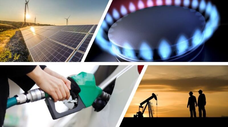 Graphic combining solar panels with wind turbines, natural gas burner, oil workers with pumpjack, and person filling car with gasoline