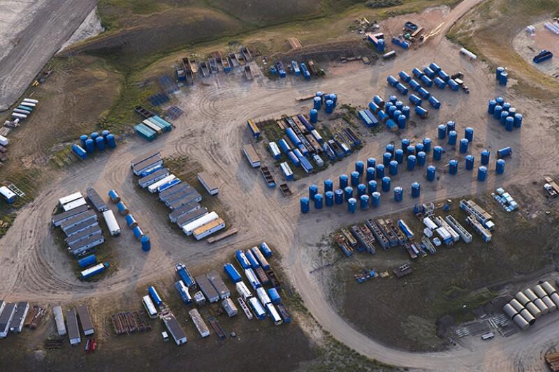 Bakken oilfield storage yard