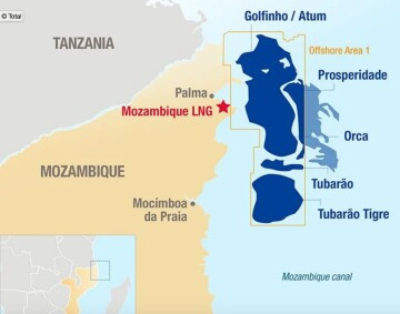 Mao showing location of Total's Mozambique LNG site.