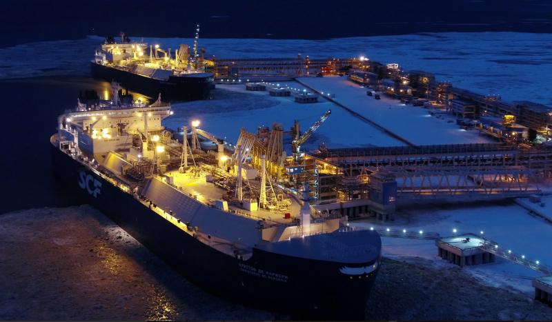 Loading a tanker at Novatek's current Arctic LNG facility.