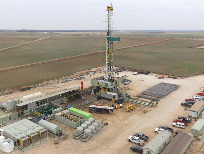 Drilling rig and well pad in Oklahoma