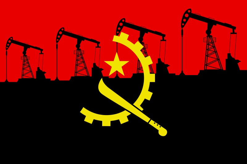 Oil pump on background of flag of Angola. Vector illustration