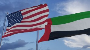 United States of America and United Arab Emirates National Flags - 3D Illustration Stock Footage