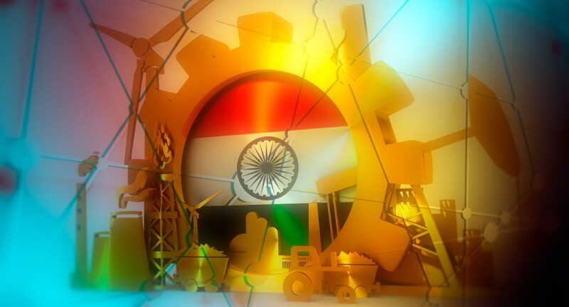 Energy and Power icons set with India flag. Sustainable energy generation and heavy industry. 3D rendering