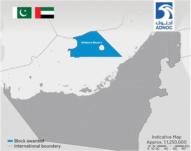 Map of Offshore Block 5 in Abu Dhabi.
