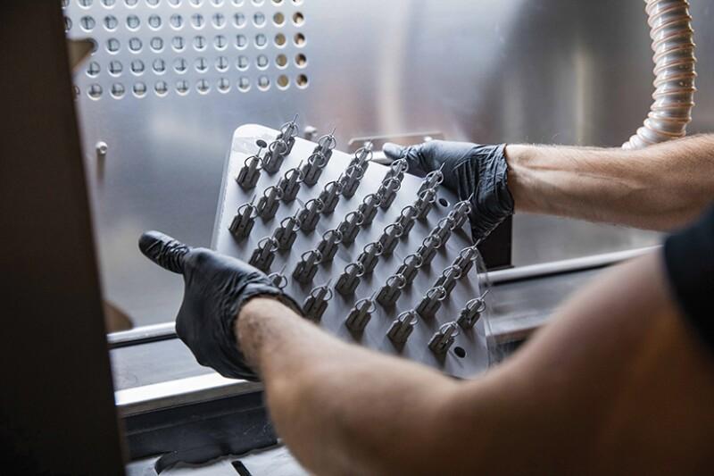 Metal parts being 3D printed