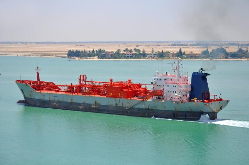 Tanker passing through Suez Canal