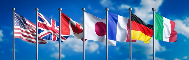 Flags of the G7 nations