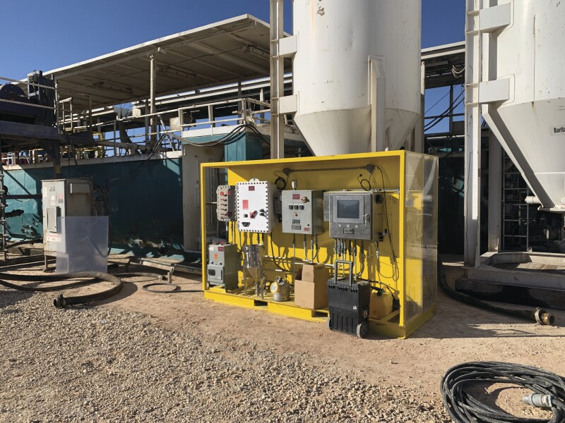 The MetaRock/SPYDR mud skid on location for Pioneer Natural Resources in the Permian Basin of west Texas.