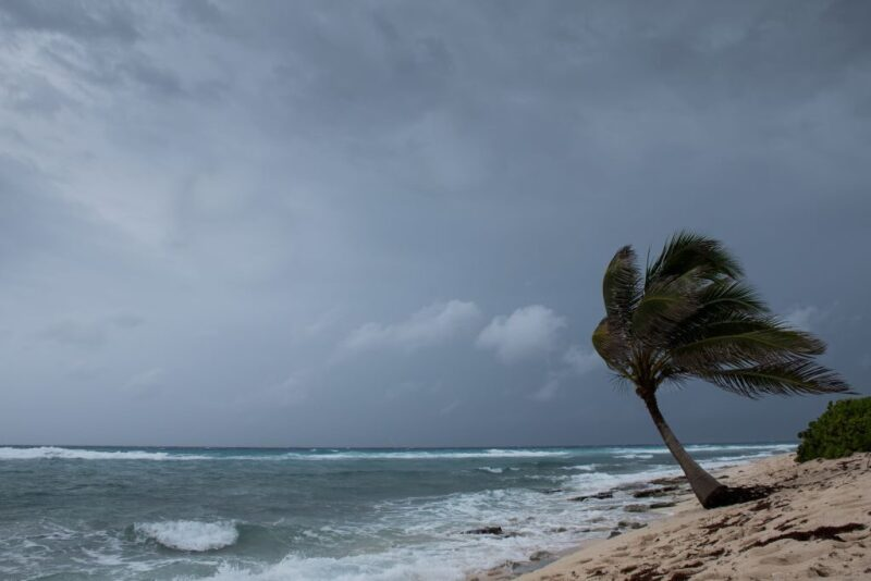 High winds and waves ahead of a hurricane