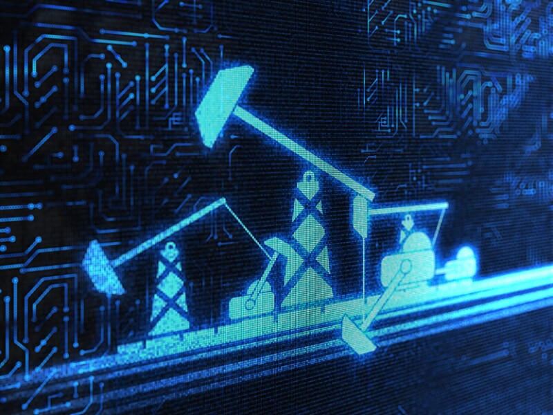 Pump jack and related equipment against a background of a digital chip