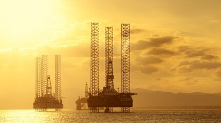 North Sea Oil Platforms at Sunset, Cromarty Firth, Scotland