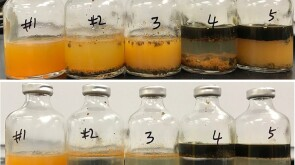 bottles show how various friction reducers performed over 2 hours (top) and 24 hours in Chevron lab testing