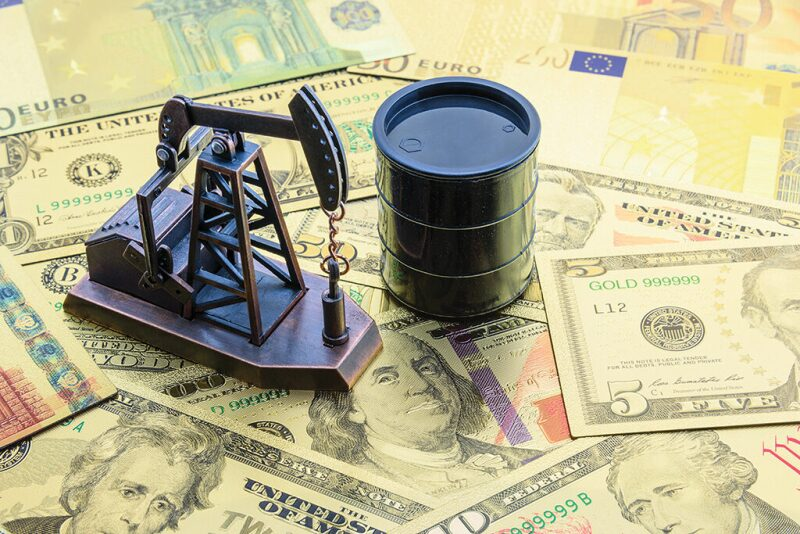 Graphic of money with a small pump jack and oil barrel