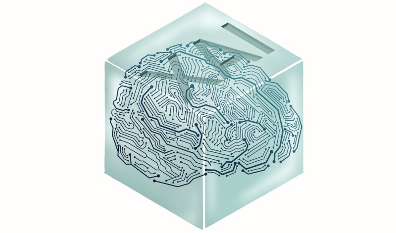 A visual representation of XAI. A clear white box model containing a digitized brain, with the letters X, A, and I etched on the top of the box.